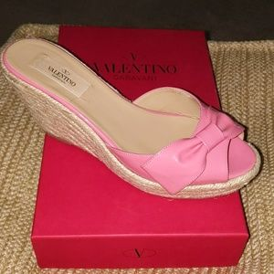 Valentino Pink Patent Leather Peep-toed Wedge